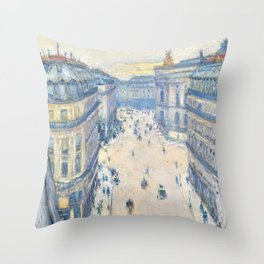 Gustave Caillebotte - Halevy Street, View from the Sixth Floor - Digital Remastered Edition Throw Pillow