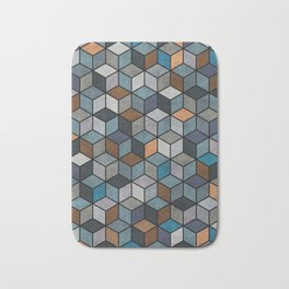 Colorful Hexagon Pattern - Blue, Grey, Brown Bath Mat