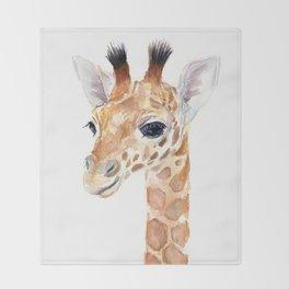 Baby Giraffe Cute Animal Watercolor Throw Blanket