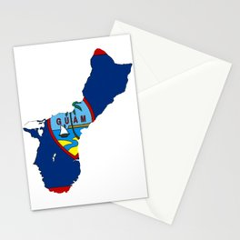 Guam Map with Guamanian Chamorro Flag Stationery Cards