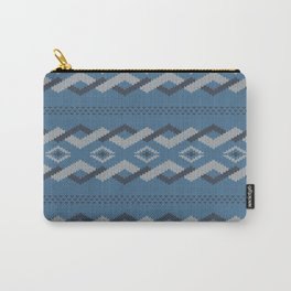 Knitty (Knitted Blue Zigzag Ornament) Carry-All Pouch