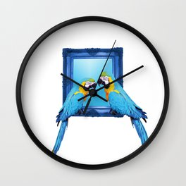 macaw Bird sitting on frame white Wall Clock