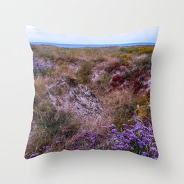 Colorful coastal flowers Throw Pillow