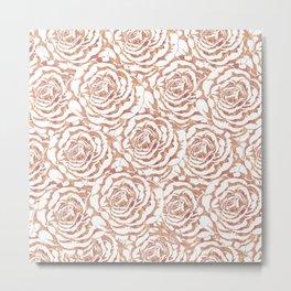 Elegant romantic rose gold roses pattern image Metal Print