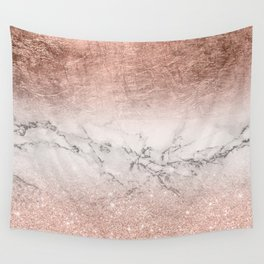 Modern faux rose gold glitter and foil ombre gradient on white marble color block Wall Tapestry