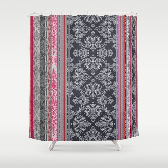 Burgundy, Pink, Navy & Grey Vintage Bohemian Wallpaper Shower Curtain By Micklyn
