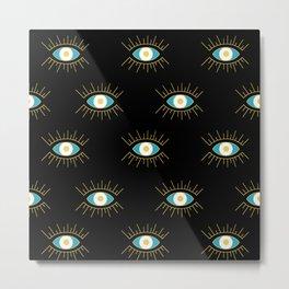 Teal Evil Eye on Black Small Pattern Metal Print