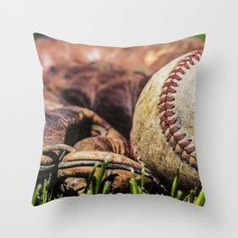 Baseball and Glove on Grass 1 Throw Pillow