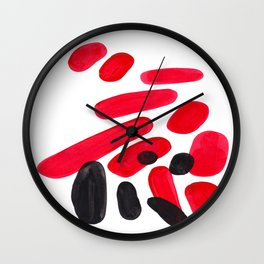 Abstract Minimalist Mid Century Modern Colorful Pop Art Red Organic Shapes Bright Pebbles Wall Clock
