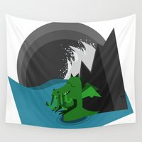 cthulhu Wall Tapestries featuring Cthulhu-Kobold by geojey