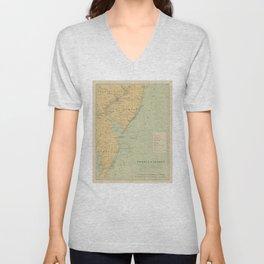 Vintage NJ, MD & Delaware Bay Lighthouse Map (1897) Unisex V-Neck