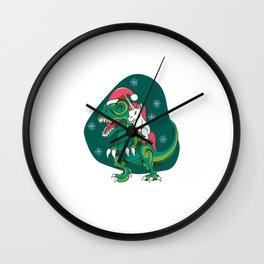 Unicorn riding Trex with santa hat funny christmas Wall Clock