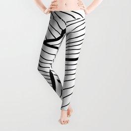 Abstract waves / black & white Leggings