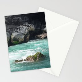 wave breaking against cliff . 2 Stationery Cards