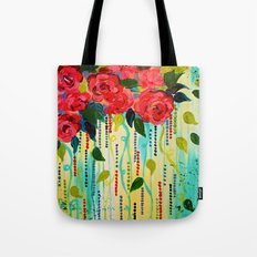 ROSE RAGE Stunning Summer Floral Abstract Flower Bouquet Feminine Pink Turquoise Lime Nature Art Tote Bag
