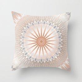 Rose Gold Gray White Mandala Throw Pillow