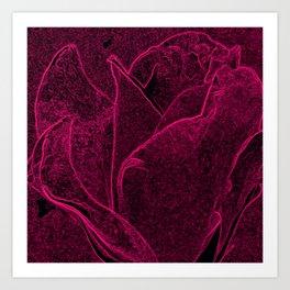 Gothic Rose in Cerise Art Print