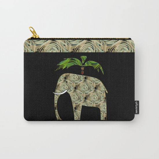 Elephant under a palm tree . Carry-All Pouch