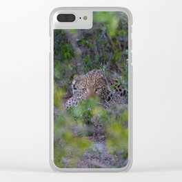Leopard Staring Contest Clear iPhone Case
