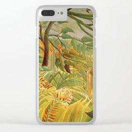 Henri Rousseau - Tiger In A Tropical Storm Clear iPhone Case