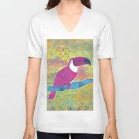toucan V-neck T-shirts featuring Toucan by Eliana Bertola