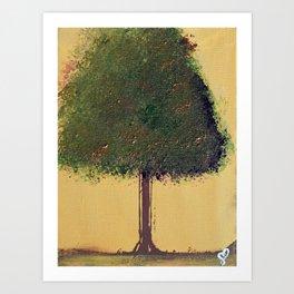 Autumn Green Tree Painting Art Print