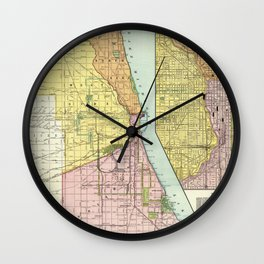Vintage Chicago Railroad Map (1897) Wall Clock