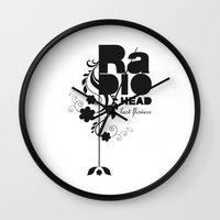 radiohead Wall Clocks featuring Last flowers Song - Radiohead - black version by LilaVert
