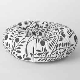 Black Olive Branches Floor Pillow
