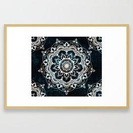 Glowing Spirit Mandala Blue White Framed Art Print