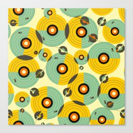 Turntables (Yellow) Canvas Print