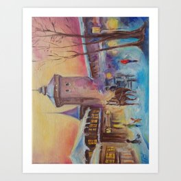 Winter in the old town Street scene Old City Christmas illustration Oil painting Art Print
