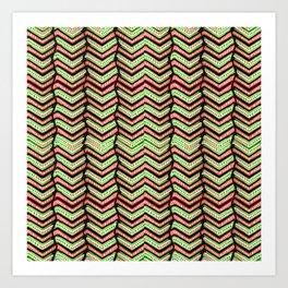 Zig Zag Multicolored Ethnic Pattern Art Print