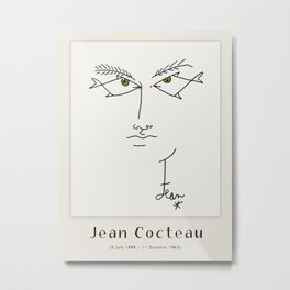 Poster-Jean Cocteau-Linear drawings-Fish eyes. Metal Print