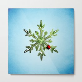 Winter Holidays Pine Snowflake Metal Print