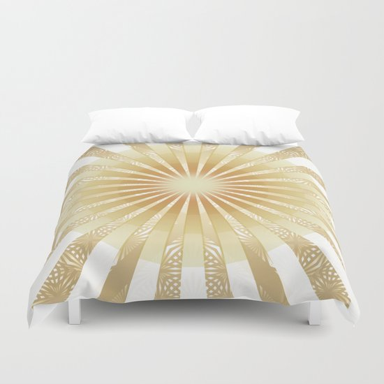 Golden Rays Mandala Duvet Cover