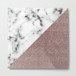 Rose Gold Pink Glitter Marble Geometric Cut Metal Print