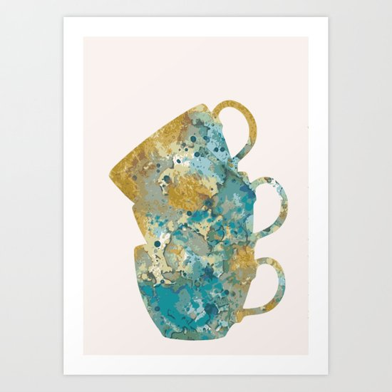 Three cups in pink Art Print
