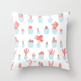 Cacti and Plants in Pots | Blue and Red Palette Throw Pillow