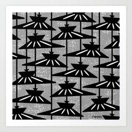 Mid Century Modern Pendant Lamp Composition Grey Art Print