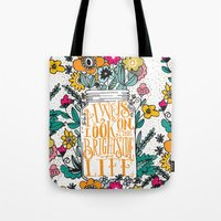 running Tote Bags featuring ALWAYS LOOK ON THE BRIGHT SIDE... by Matthew Taylor Wilson