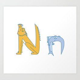 N Uppercase/Lowercase Pair, no border Art Print