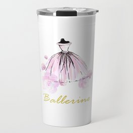 Flowers And Rosy Ballerina Travel Mug