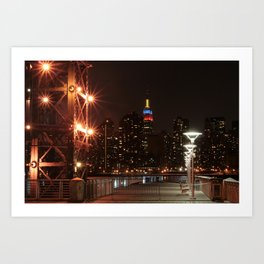 Empire state building with colombian flag Art Print