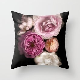 Pink, Purple, and White Roses Throw Pillow