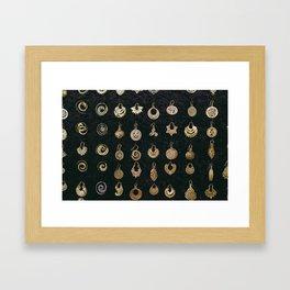 Gold Earrings in Safed Framed Art Print