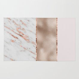 Rose metallic striping - marble and blush Rug
