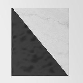 Marble And Black Diagonal Throw Blanket