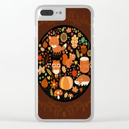 Autumn Party For Forest Friends Clear iPhone Case