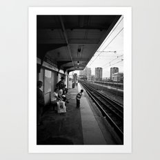 Waiting for Train Art Print